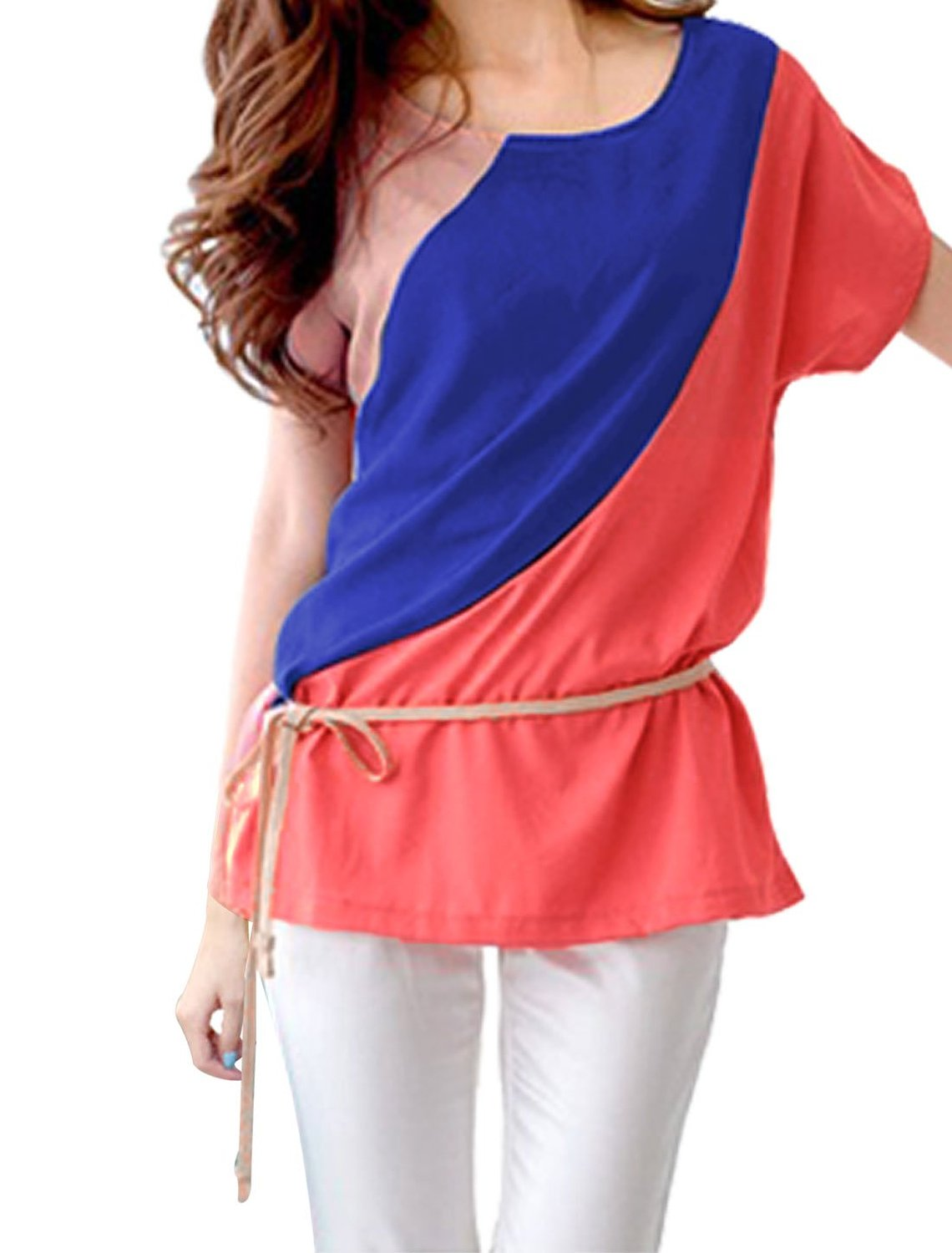 Allegra K Women Short Sleeve Color Block Tunic Tops T-Shirts w Waist Strap at Amazon Women's Clothing store