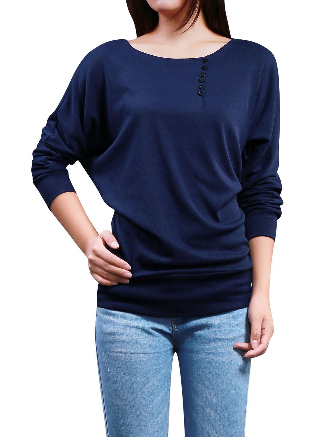 Allegra K Women Batwing Sleeves Pullover Tops Casual Slim T Shirt at Amazon Women's Clothing store
