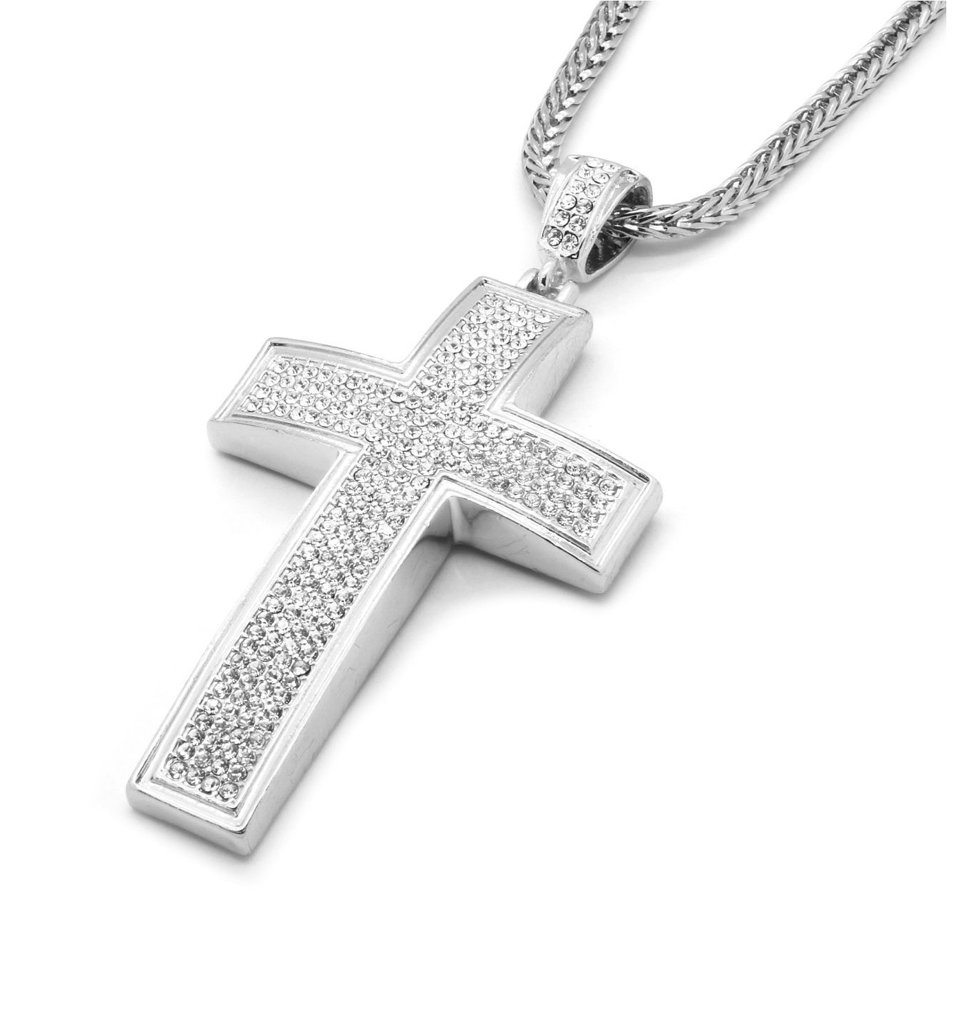 "Mens Silver Clear Layer Clear Iced Out Cross Pendant Hip-Hop 36"" Inch Franco Necklace Chain K2"