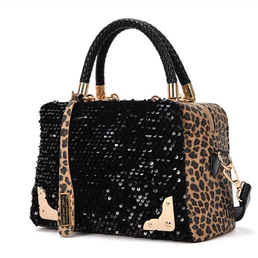 Wisedeal Fashion Leopard sequined ladies women shoulder Messenger bag handbag Tote Purse: Tea Bag Coasters