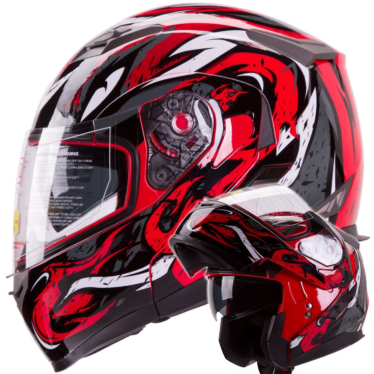 VIPER Modular Dual Visor Motorcycle / Snowmobile Helmet DOT Approved (IV2 Model #953) - RED (M)