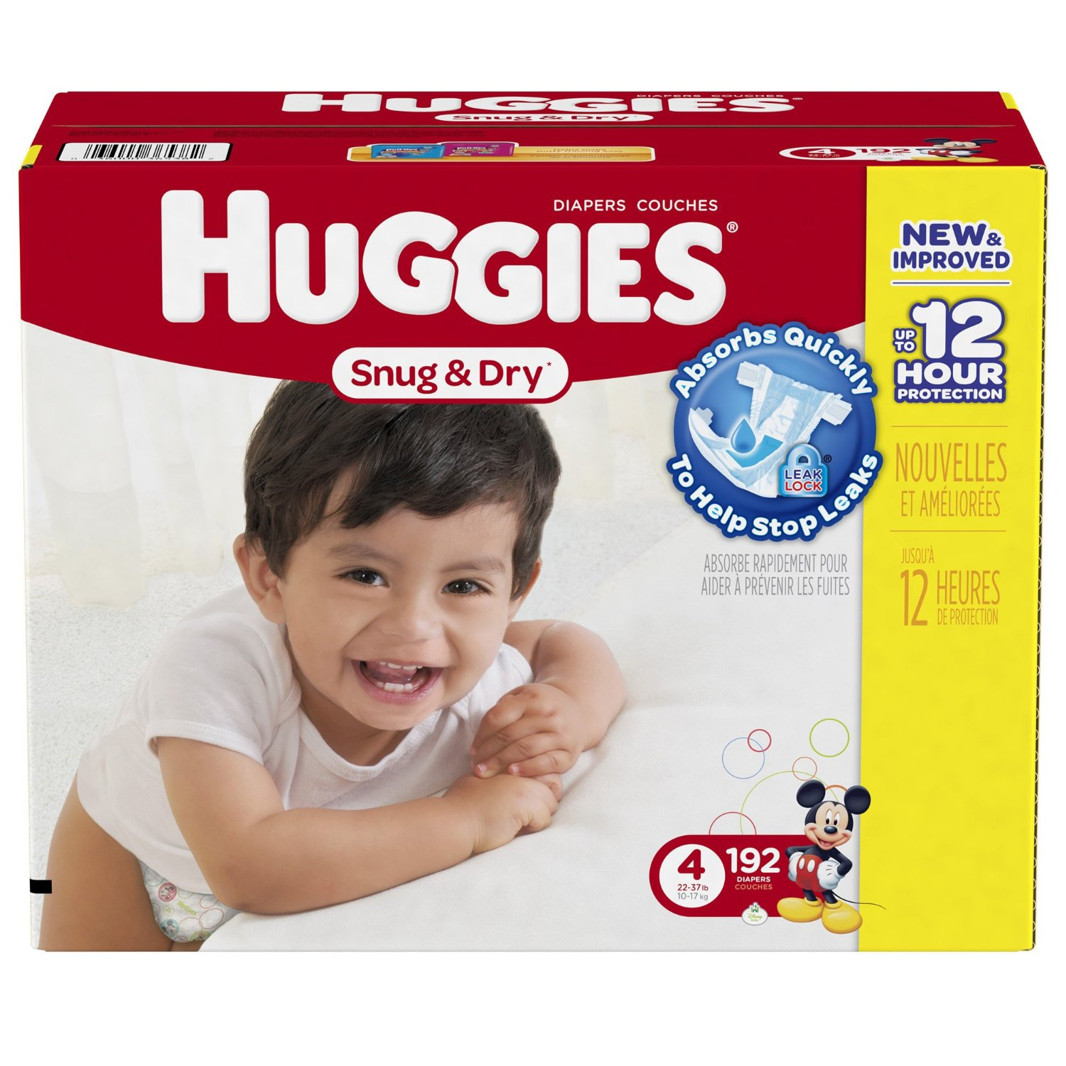 Huggies Snug and Dry Diapers, Size 4, Economy Plus Pack, 192 Count