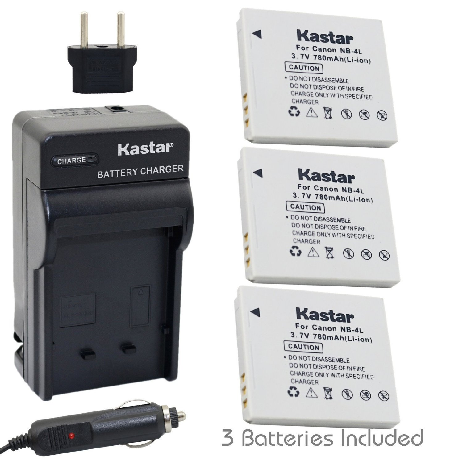 Amazon.com : Kastar Battery (3-Pack) and Charger Kit for Canon NB-4L, CB-2LV work with Canon PowerShot SD40, SD30, SD200, SD300, SD400, SD430, SD450, SD600, SD630, SD750, SD780 IS, SD940 IS, SD960 IS, SD1000, SD1100 IS, SD1100 IS, SD1400 IS, TX1, ELPH 100 HS, ELPH 300 HS, ELPH 310 HS, ELPH 330 HS, V