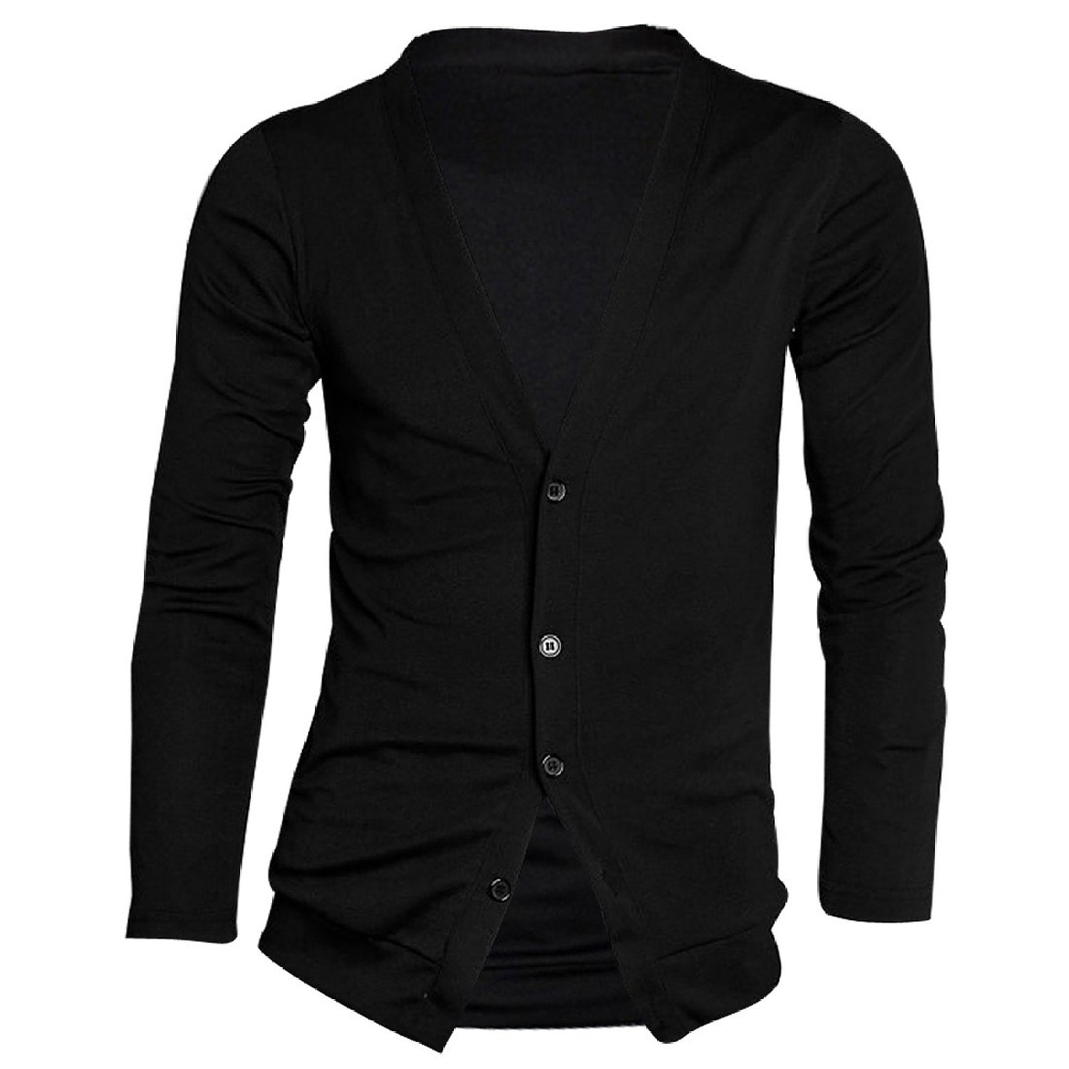 Allegra K Men Deep V Neck Long Sleeve Casual Slim Button Down Cardigans at Amazon Men's Clothing store
