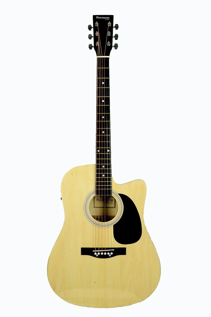 Full Size NATURAL Acoustic Electric Guitar Cutaway with 3 EQ, BLOND, & DirectlyCheap(TM) Translucent Blue Medium Guitar Pick