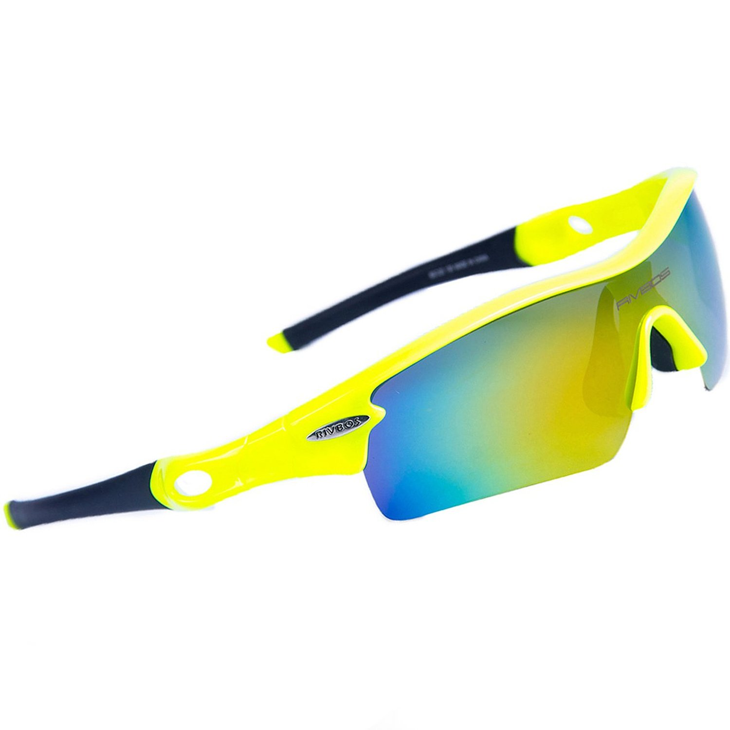 RIVBOS 805 POLARIZED Sports Sunglasses with 5 Set Interchangeable Lenses for Cycling (Green&Black)
