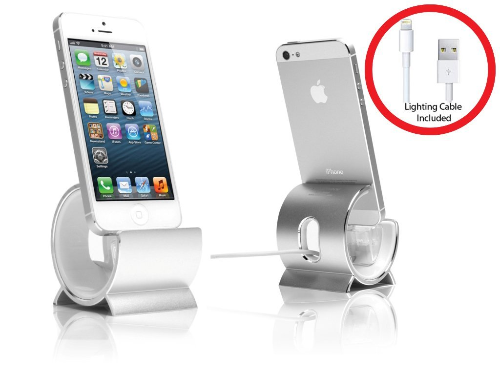Sinjimoru Aluminum Sync Stand Dock Cradle Holder for iPhone 6, 6 Plus, 5S, 5C, 5, 4S, 4 and iPod Touch, iPad Mini (Color option: Silver)
