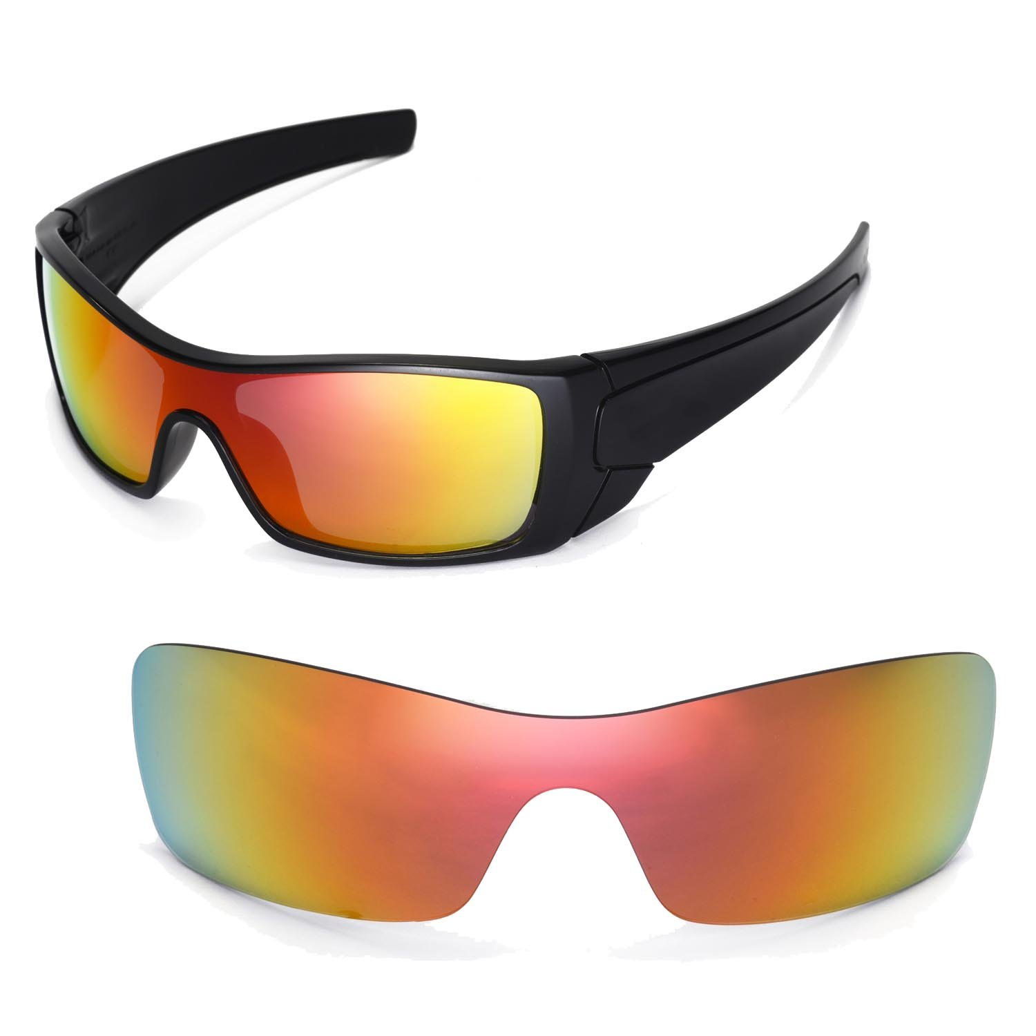 Amazon.com : Walleva Replacement Lenses for Oakley Batwolf Sunglasses - Multiple Options Available (Fire Red Mirror Coated - Polarized)