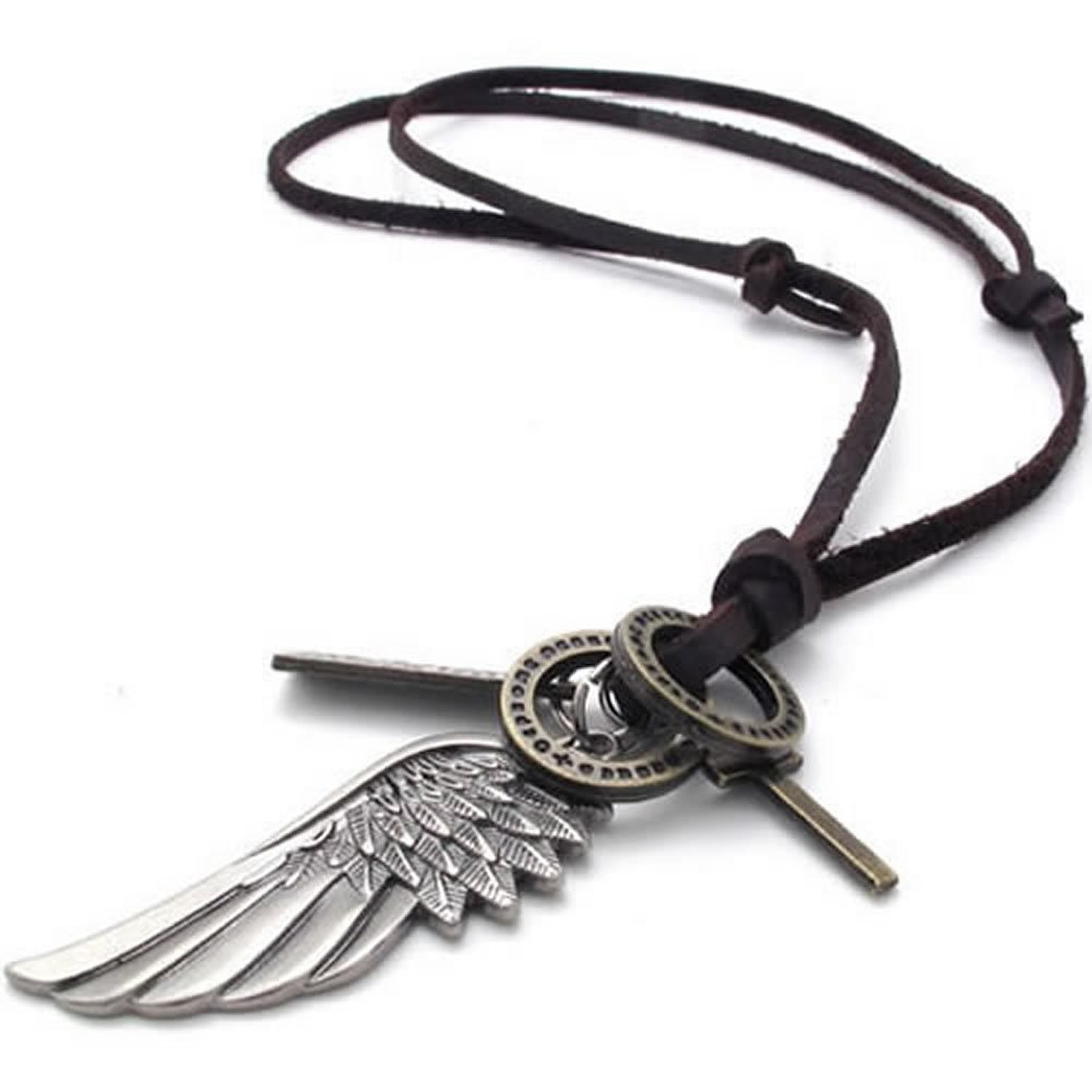 Genuine Leather Angel Wing Cross Pendant Necklace | Amazon.com