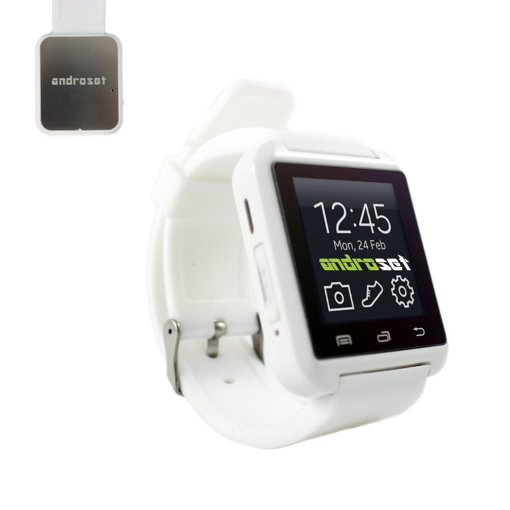 ANDROSET Universal Bluetooth Smartwatch for Android/IOS Touch Screen Smart Phone Mate-WHITE