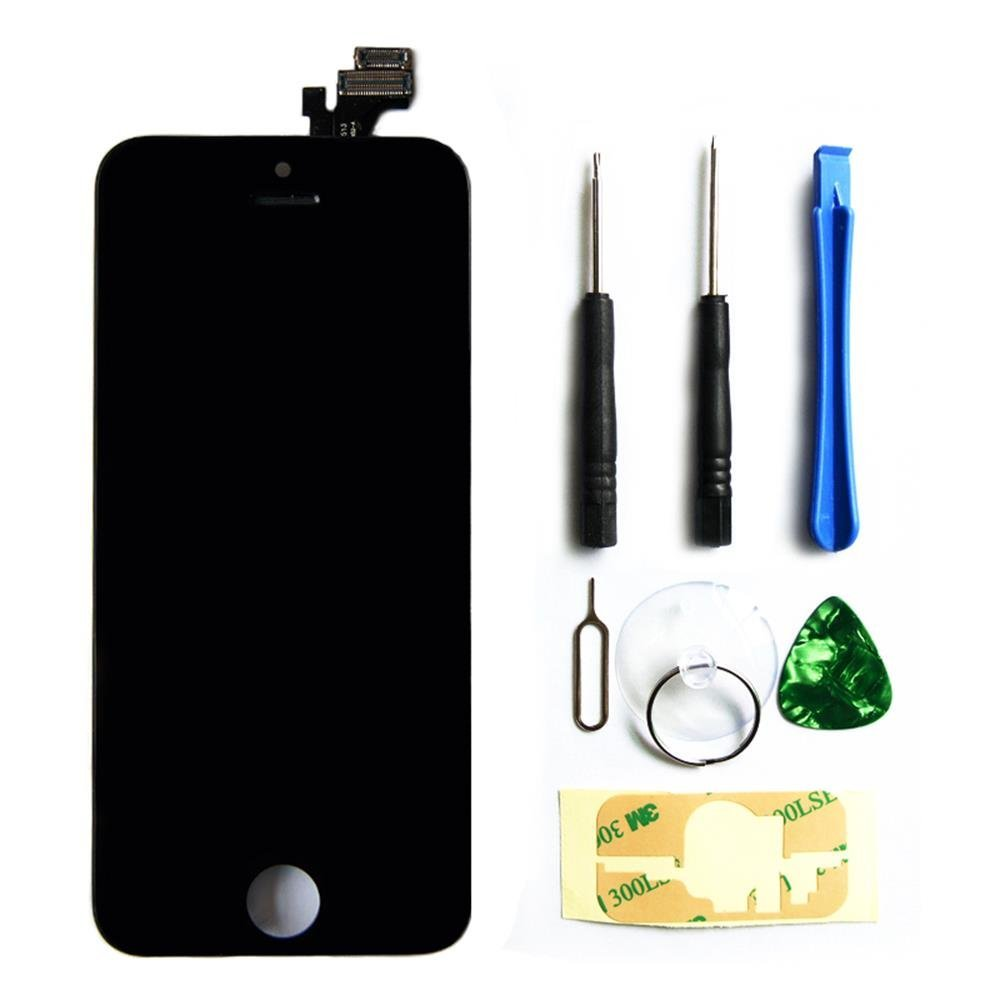 LCD Touch Screen Digitizer Frame Assembly Full Set LCD Touch Screen Replacement for iPhone 5 - Black
