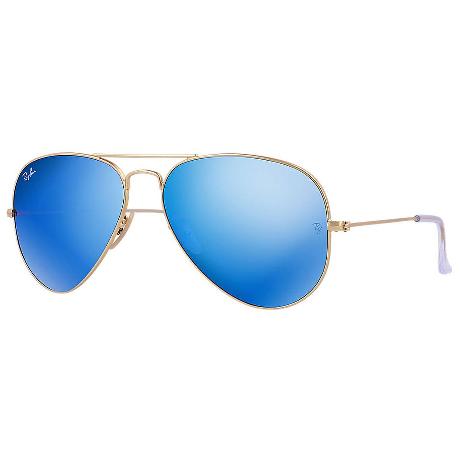 Ray Ban RB3025 Large Aviator Sunglasses,Gold Frame/Blue Mirror Lens,55 mm: Ray-Ban