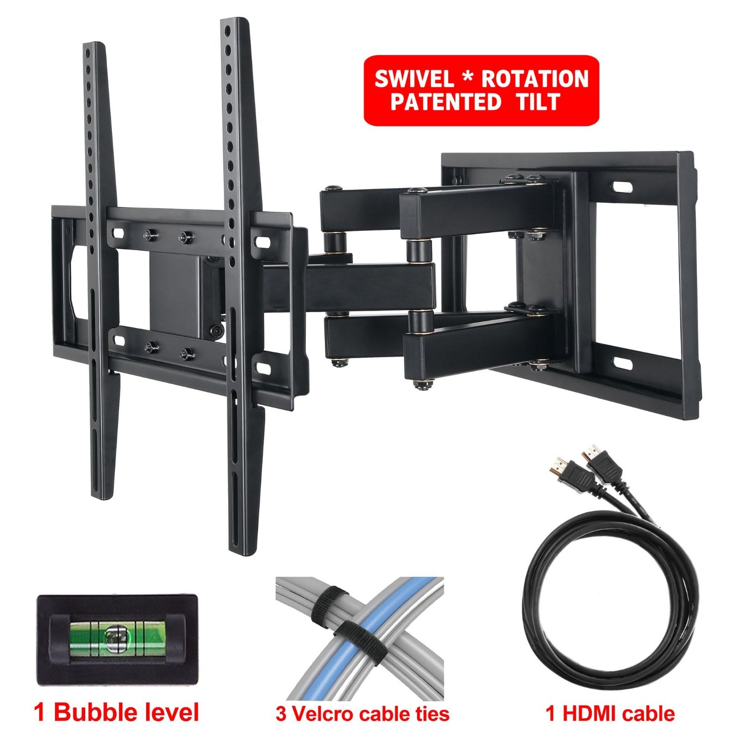 "Mounting Dream MD2380 TV Wall Mount Bracket with Full Motion Articulating Arm (16"" Extension) for most of 26-55 Inches LED, LCD and Plasma TVs up to VESA 400x400mm and 99 lbs, with Tilt, Swivel, and Rotation Adjustment, Including 6 ft HDMI Cable and Magnetic Bubble Level (For Samsung, Sony, Tos"