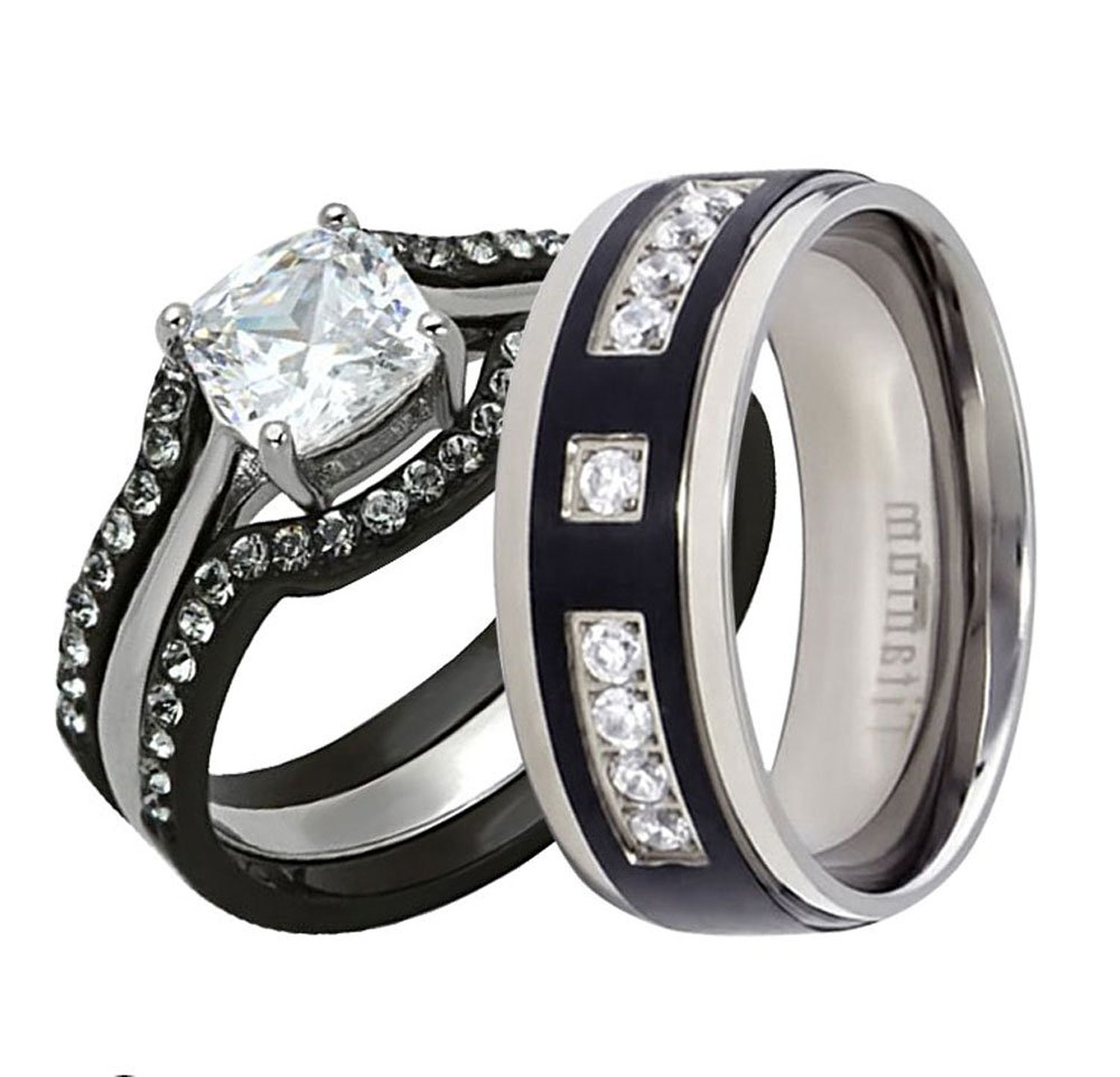 His And Hers Wedding Ring Set Cushion Cubic Zirconia Black Plated Stainless Steel Titanium 4 Pcs SPJ