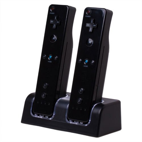 Dual Charging Station w/ 2 Rechargeable Batteries & LED Light Compatible with Nintendo Wii / Wii U Remote Control, Black