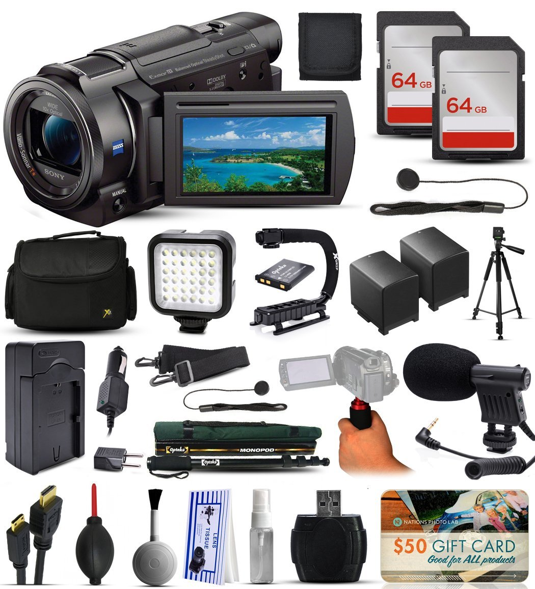 Amazon.com : Sony FDR-AX33 4K Ultra HD Handycam Camcorder Video Camera + 128GB Boardcasting Filmmaker's Package with LED Night Light + Tripod + Monopod + Action Stabilizer + Handgrip + Microphone + More