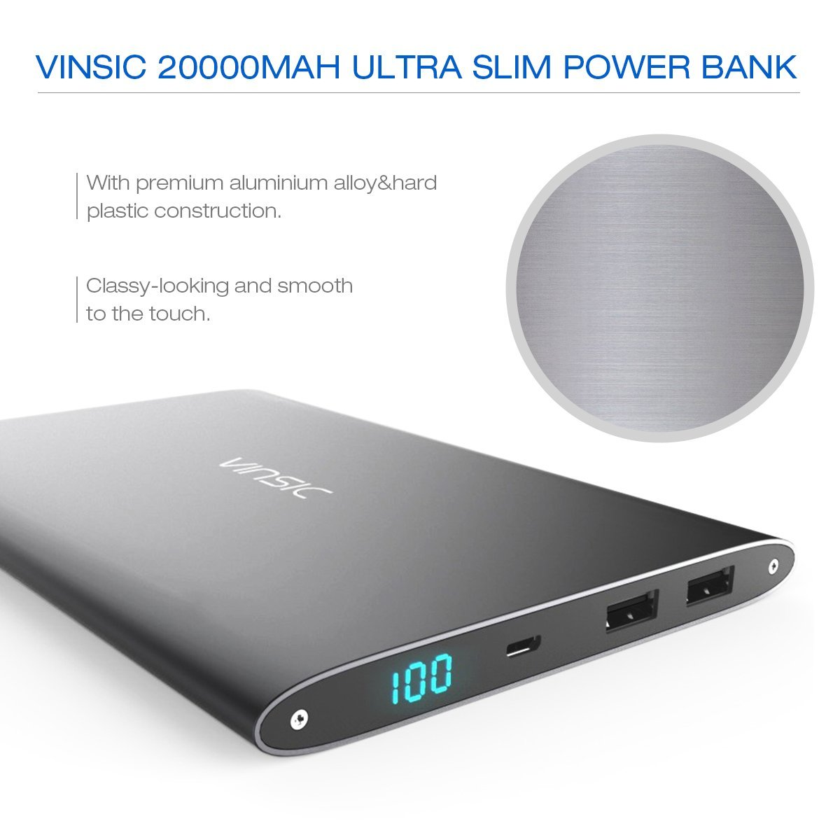 Power Bank, Vinsic 20000mAh Ultra-slim Power Bank, 10 Times for iPhone 5S, Dual USB Port 2.1a 1a External Mobile Battery Charger Pack for iPhone,iPad,Samsung Galaxy,Cell Phones,Tablets.