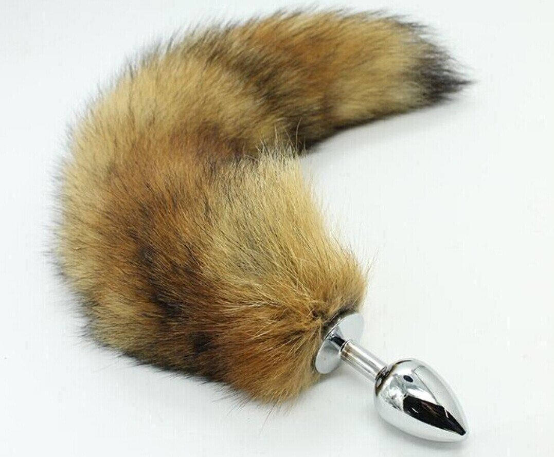 T-explorer 2014 New Arrival Large Fetish Fantasy Soft Wild Fox Tail Metal Steel Anal Plug Butt for Women Adult Toy