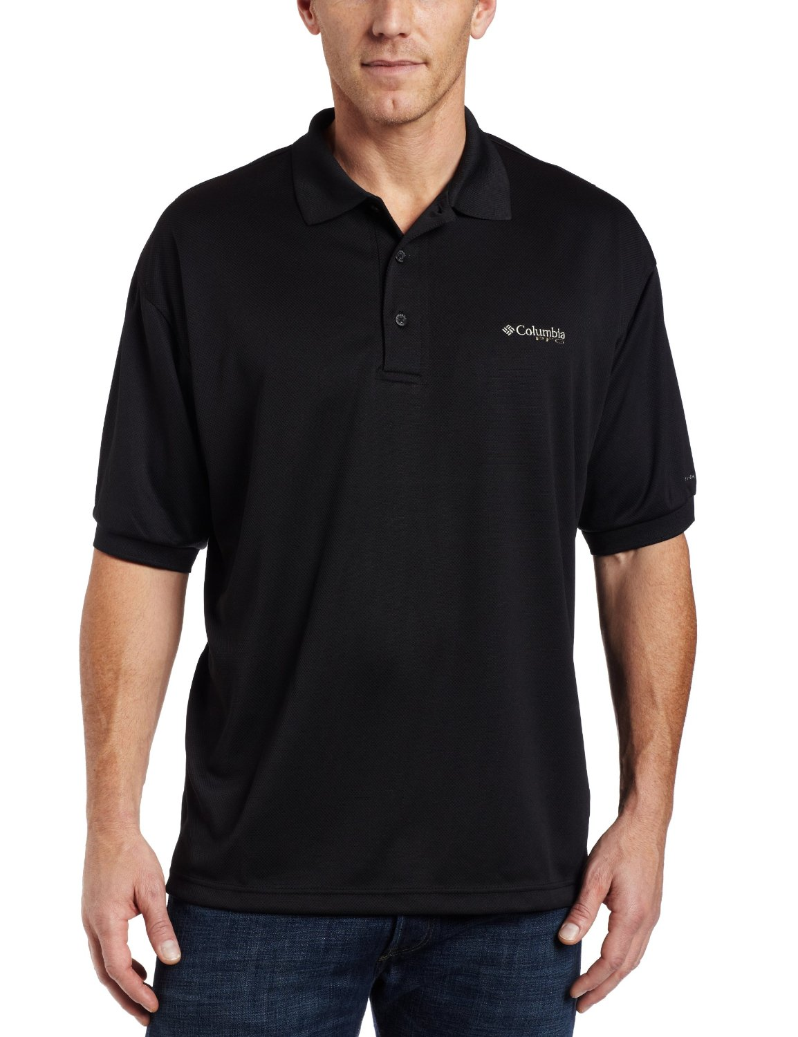 Columbia Men's Perfect Cast Polo, Black, Large
