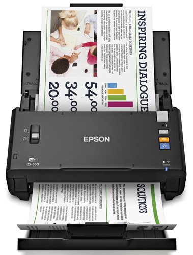 Epson WorkForce DS-560 Wireless Color Document Scanner for PC & MAC, Auto Document Feeder (ADF),  Duplex & WiFi (B11B221201)