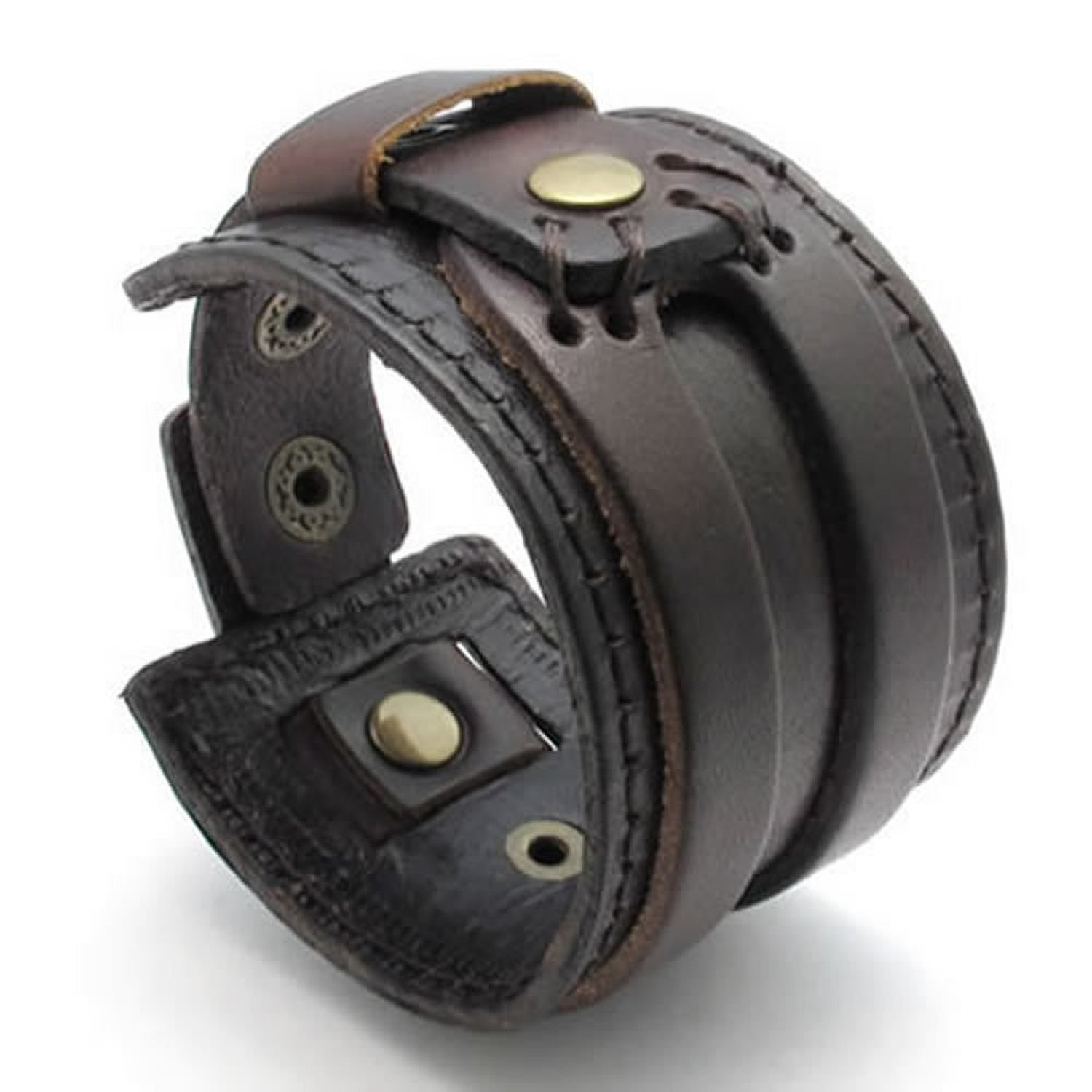 KONOV Jewelry Wide Genuine Leather Mens Bangle Cuff Bracelet, Color Brown