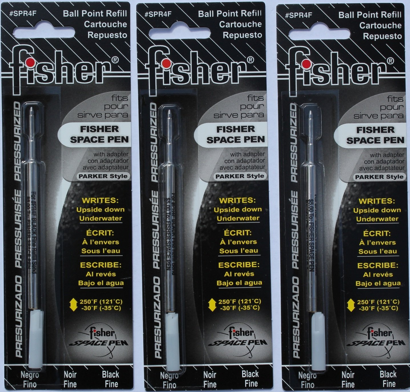 Fisher Space Pen SPR4F Black Ink Fine Point Refill - 3 Pack