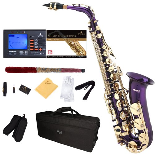 Mendini by Cecilio MAS-PL+92D+PB Purple Lacquer E Flat Alto Saxophone with Tuner, Case, Mouthpiece, 10 Reeds and More