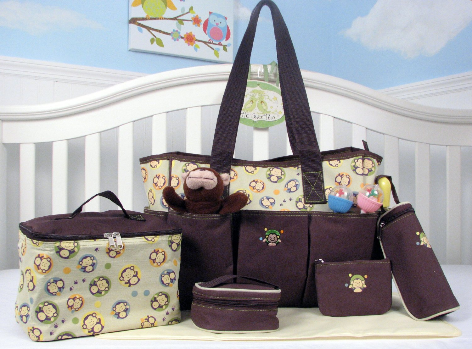 Amazon.com : SOHO Curious Monkey 6 in 1 Deluxe Diaper Bag *Limited time offer* : Diaper Tote Bags