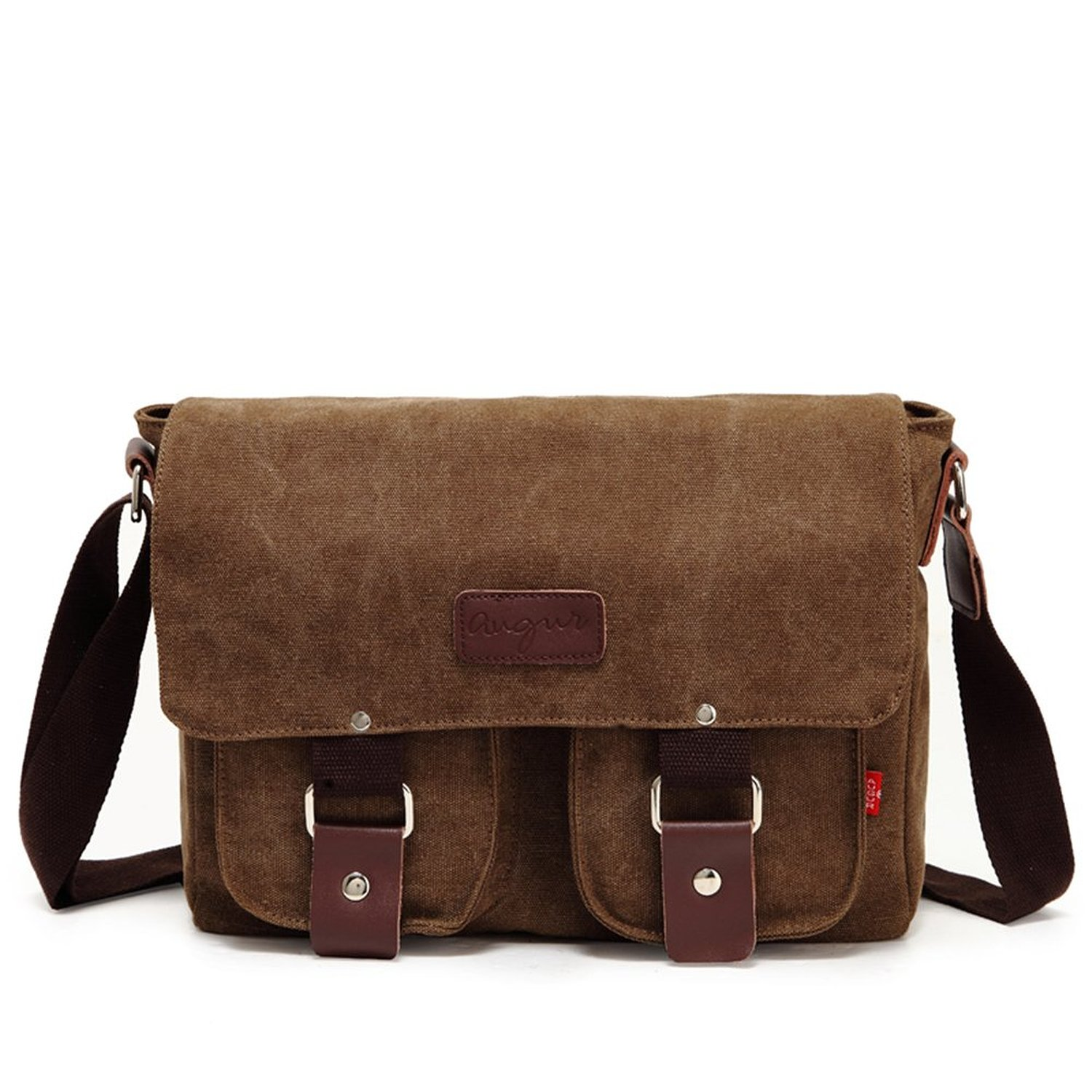 Sechunk Men's Shoulder Bag Canvas Retro Messenger bags for Leisure Travel Brown