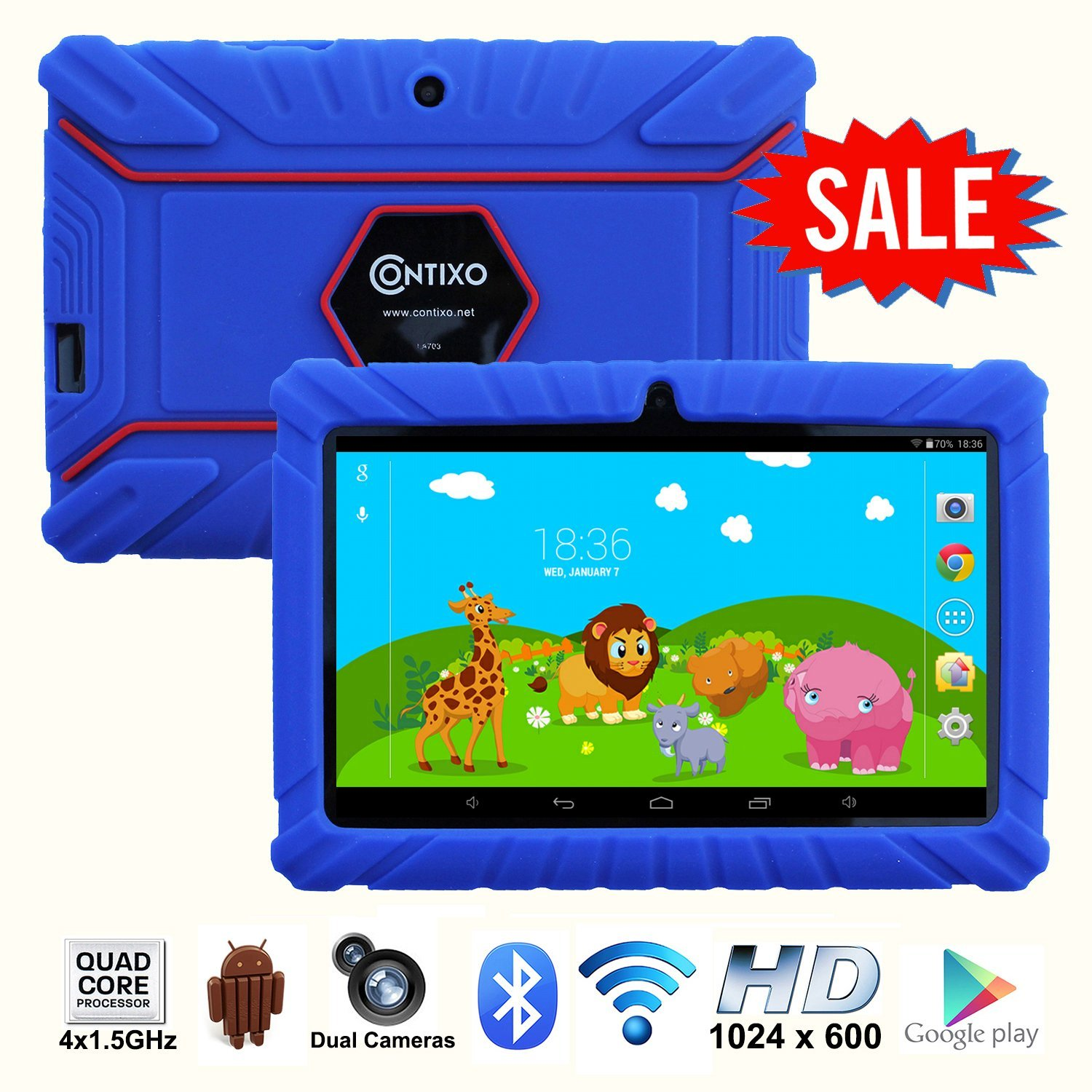 "*Thanksgiving Day Special* Contixo Kids Safe 7"" Quad-Core Tablet 8GB, Bluetooth, Wi-Fi, Cameras, 20+ Free Games, HD Edition w/ Kids-Place Parental Control, Kid-Proof Case, 2015 Best Christmas Gift + Bonus Items (Dark Blue)"