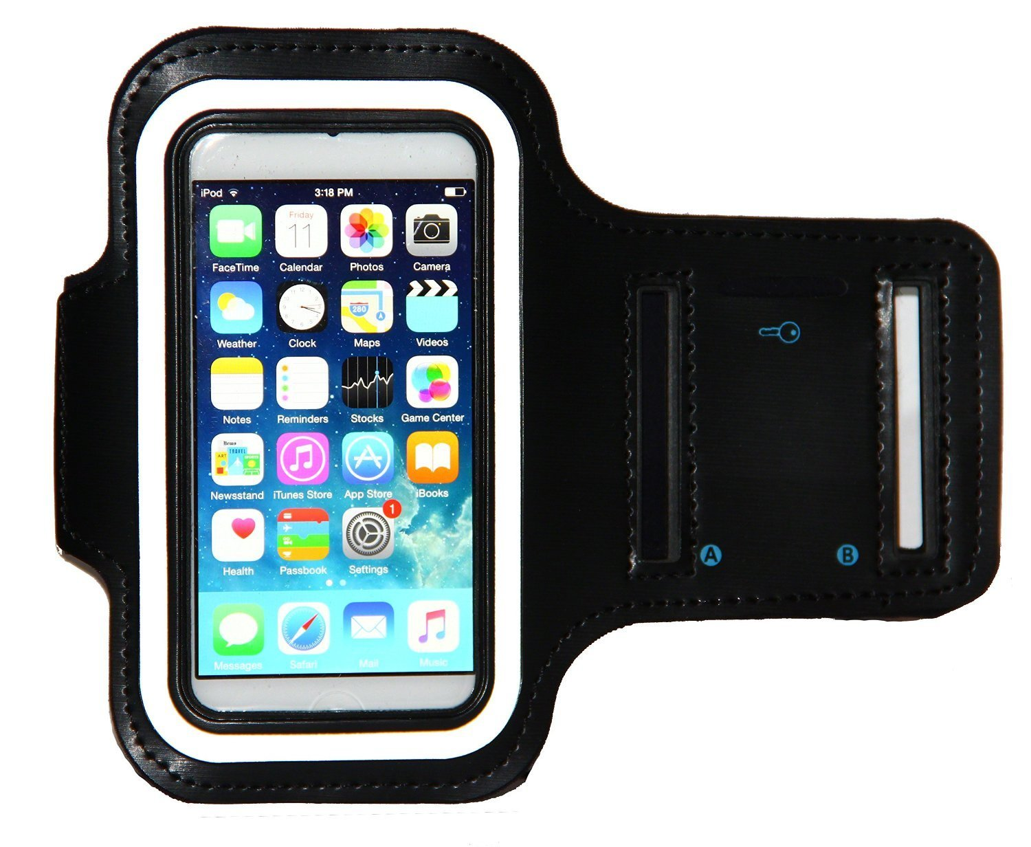 iPod Touch 6th Generation (6G) Exercise & Running MP3 Player Armband Case with Key Holder & Reflective Band (Black)