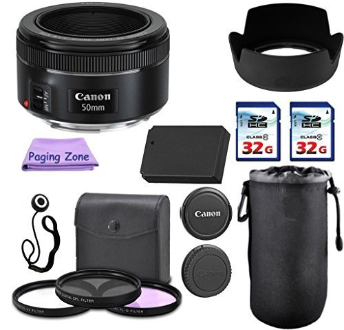 Amazon.com : Canon EF 50mm f/1.8 STM Camera Lens. PagingZone Deluxe Kit. 3Piece Filter Set + Lens Case + Lens Hood + 2 PC 32GB Class 10 Card + For EOS 6D 70D, 5D MK II III,