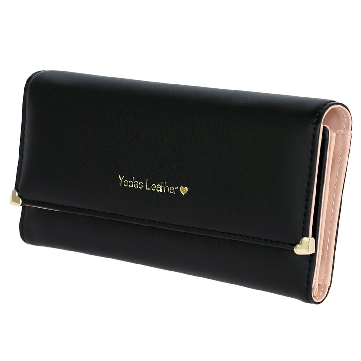 FUNOC Synthetic Leather Women Wallet Purse Credit Card Clutch holder Case (Black) at Amazon Women's Clothing store