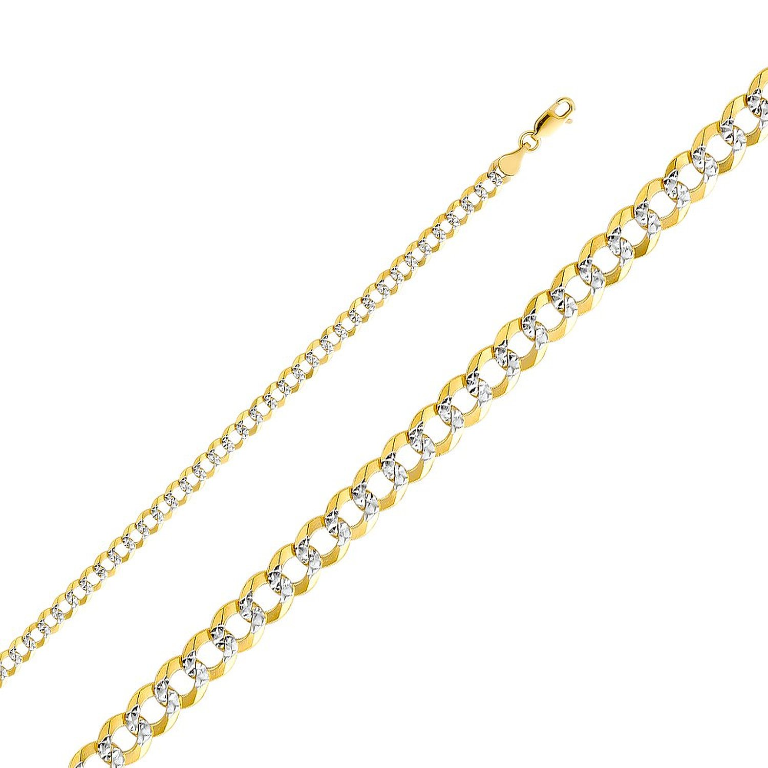 Wellingsale® 14k Two Tone Yellow and White Gold SOLID 4.7mm Polished Cuban Concaved Curb White Pave Diamond Cut Chain Necklace with Lobster Claw Clasp - 24"