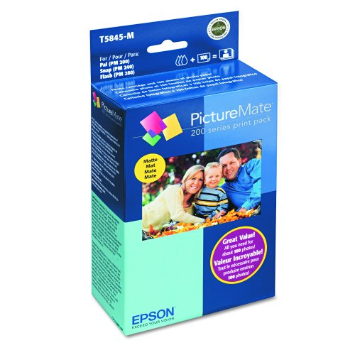 Amazon.com : Epson T5845-M PictureMate Print Pack Includes Inkjet Cartridge, 100 Sheets Matte Photo Paper : Photo Quality Paper