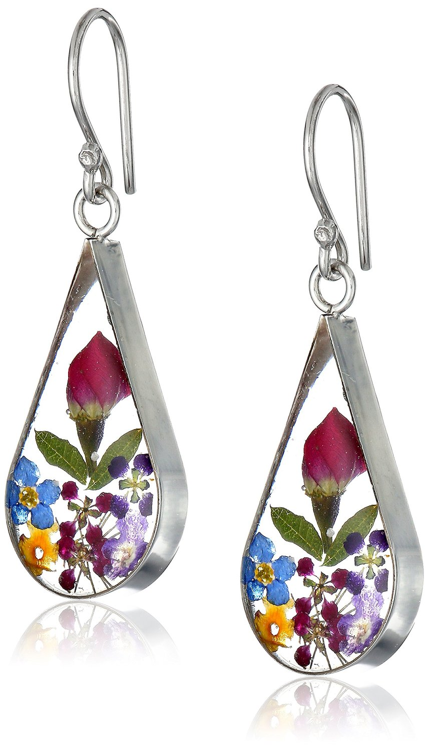 Sterling Silver Multi Pressed Flower Teardrop Earrings: Drop Earrings