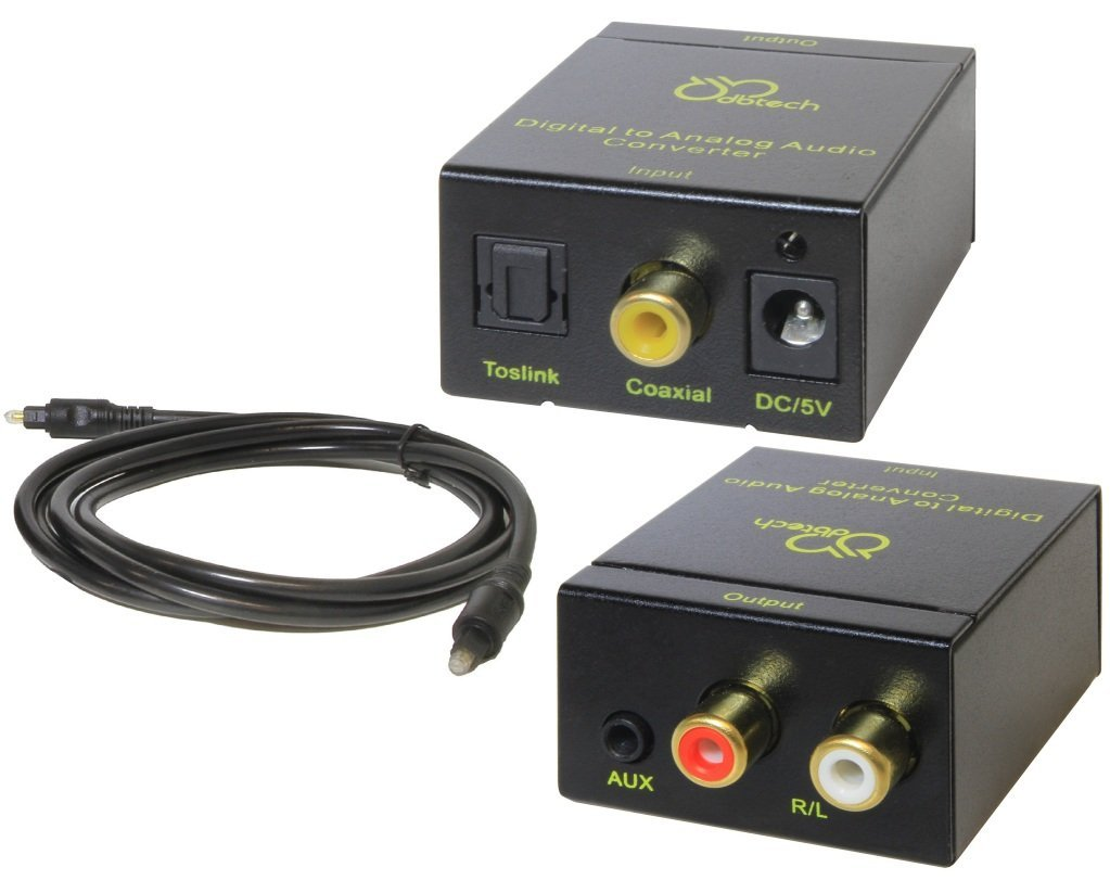 DBTech Digital to Analog Audio Converter with Digital Optical Toslink and S/PDIF Coaxial Inputs and Analog RCA and AUX 3.5mm (Headphone) Outputs - 6 foot Heavy Duty Optical Toslink Cable with Gold Plated Connector Tips Included (Colors May Vary - Black or White)