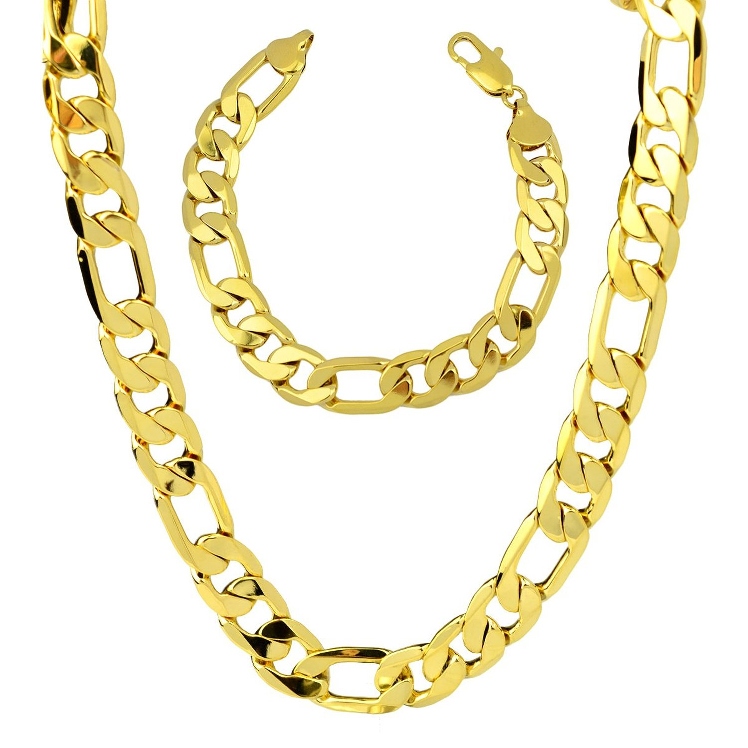 "Jewelry Set Mens 24k Yellow Gold Plated Figaro Chain Link Necklace Bracelet Sets 136g, 12mm (24""+9"") 