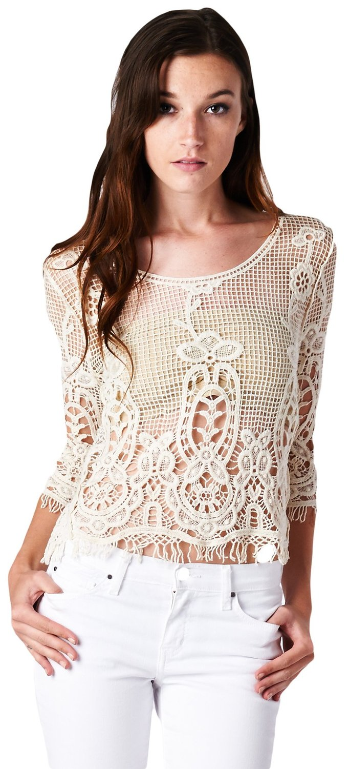 Women's 3/4 Sleeve Lovely Crochet Knit Mesh Top with Short Fringe Trim at Amazon Women's Clothing store