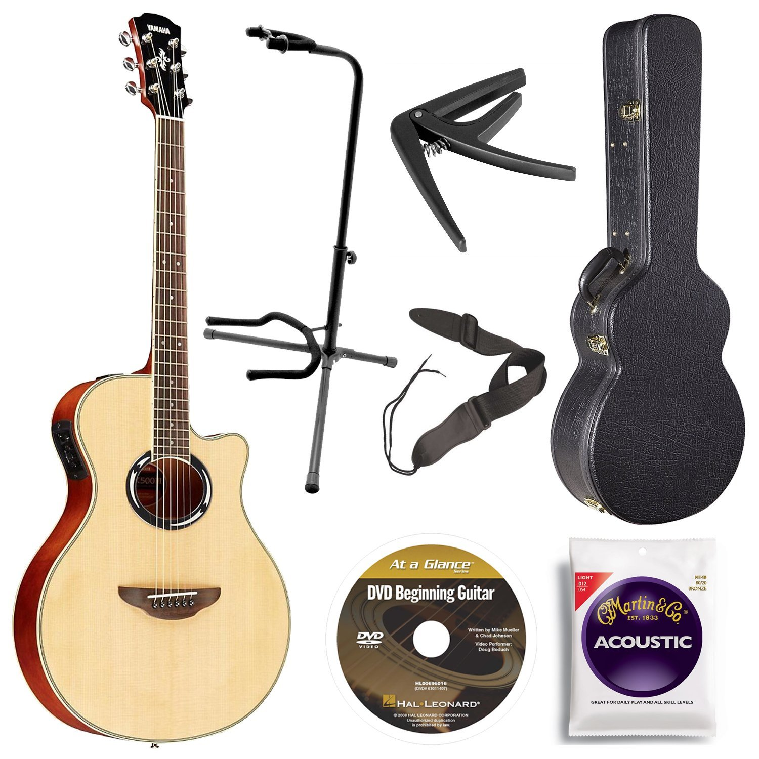 Yamaha APX500III NA Thin Line Acoustic/Electric Cutaway Guitar, Natural Bundle with Case, Quick Start DVD and Accessories