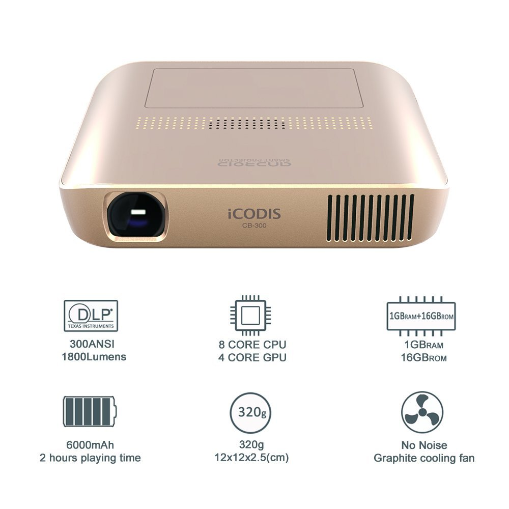iCODIS CB-300 Pico Projector HD Video with DLP 1800 Lumen, Mini HDMI,30,000 Hour Led Life, Portable Pocket Movie and Entertainment Home Theater