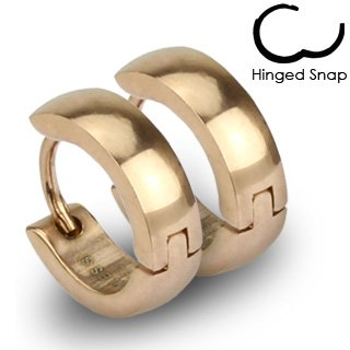 SER-0005 Pair of 316L Stainless Steel Rose Gold IP Huggie Hoop Earrings; Comes With Free Gift Box: Huggie Earrings For Women