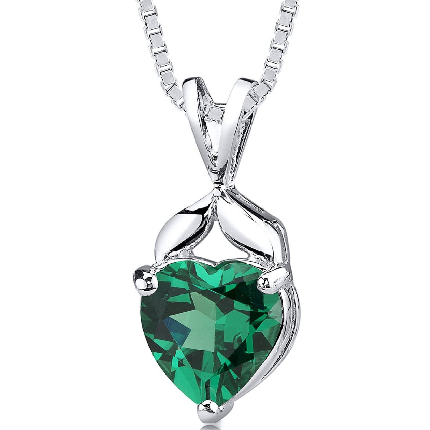 Simulated Emerald Heart Shape Pendant Sterling Silver 3.00 Carats