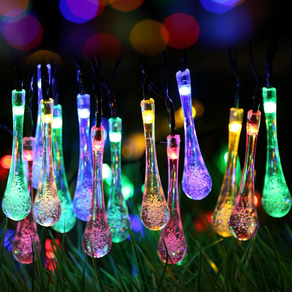 Solar Outdoor String Lights, Gdealer 20ft 30 LED Water Drop Solar String Fairy Waterproof Lights Christmas Lights Solar Powered String lights for Garden, Patio, Yard, Home, Christmas Tree, Parties - - Amazon.com