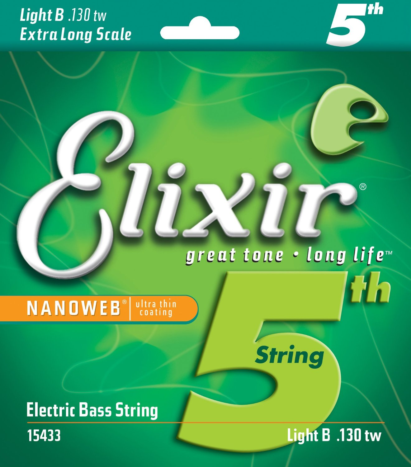 Elixir® Strings Nickel Plated Steel with NANOWEB® Coating, Custom Bass 5th String Single, Light B, Extra Long Scale TaperWound (.130tw)