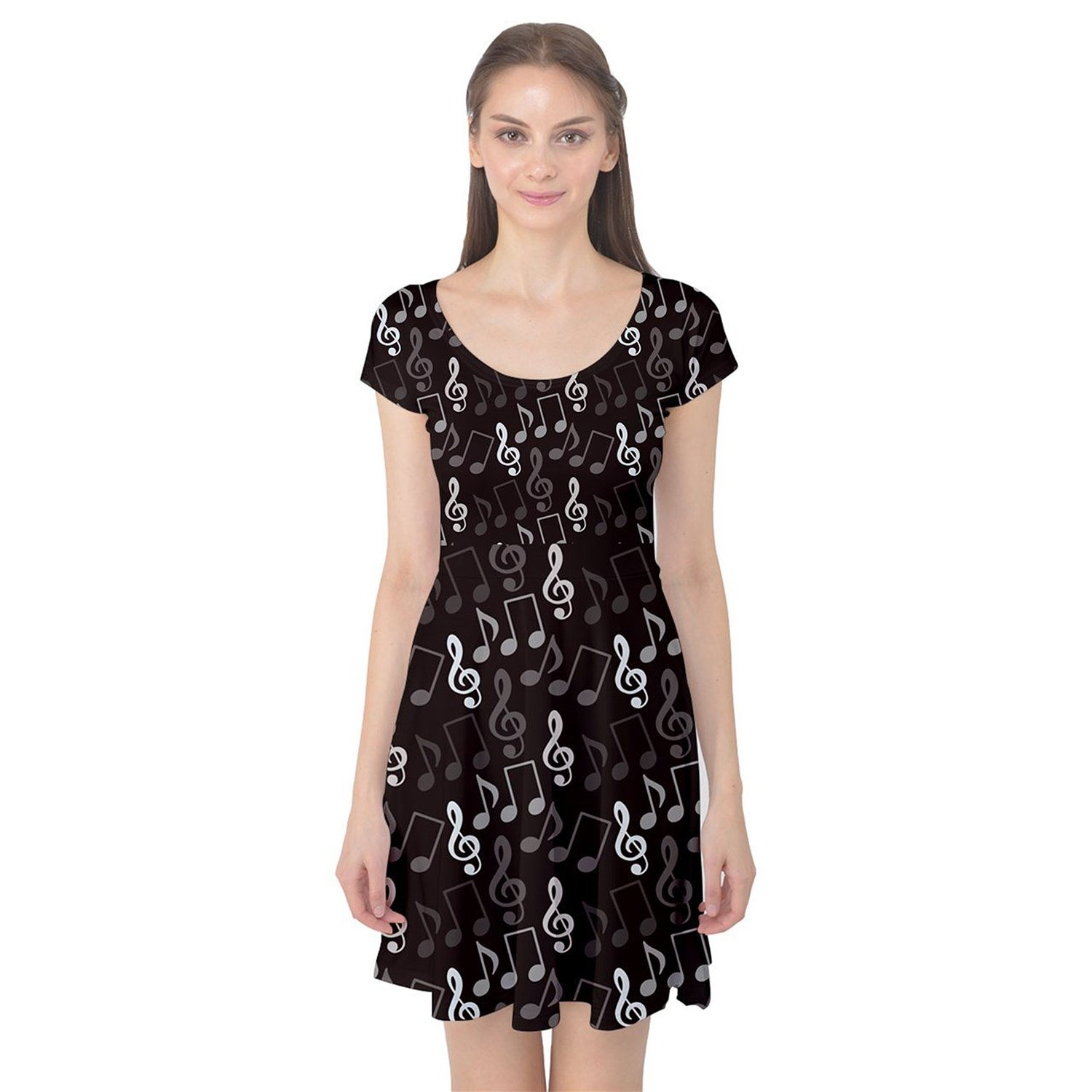 CowCow Womens Black Pattern Music Notes Treble Clef Cap Sleeve Dress at Amazon Women's Clothing store
