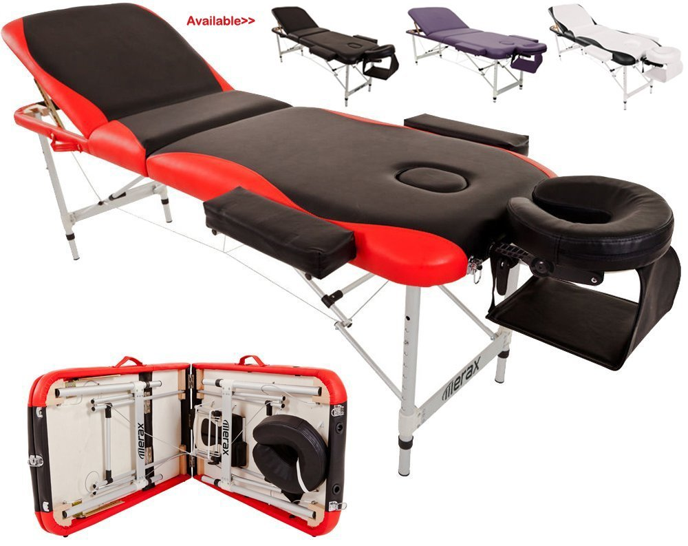 Merax® Aluminium 3 Section Portable Massage Table Facial SPA Tattoo Bed Red and Black