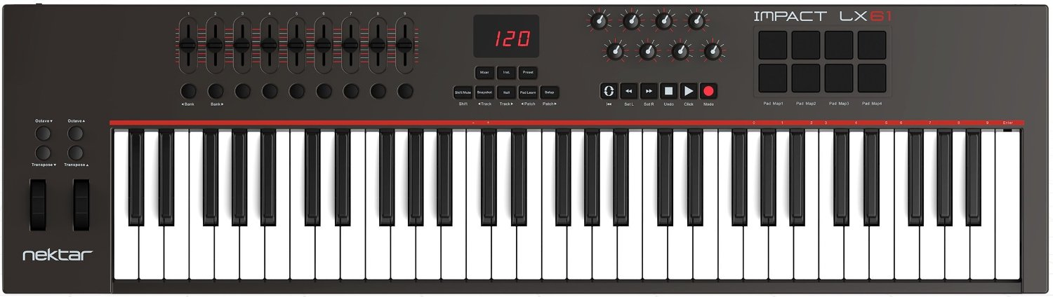 Nektar Impact LX61 61 note USB keyboard controller with pre-mapped integration for Cubase, Digital Performer, Garageband, Logic, Sonar & Studio One