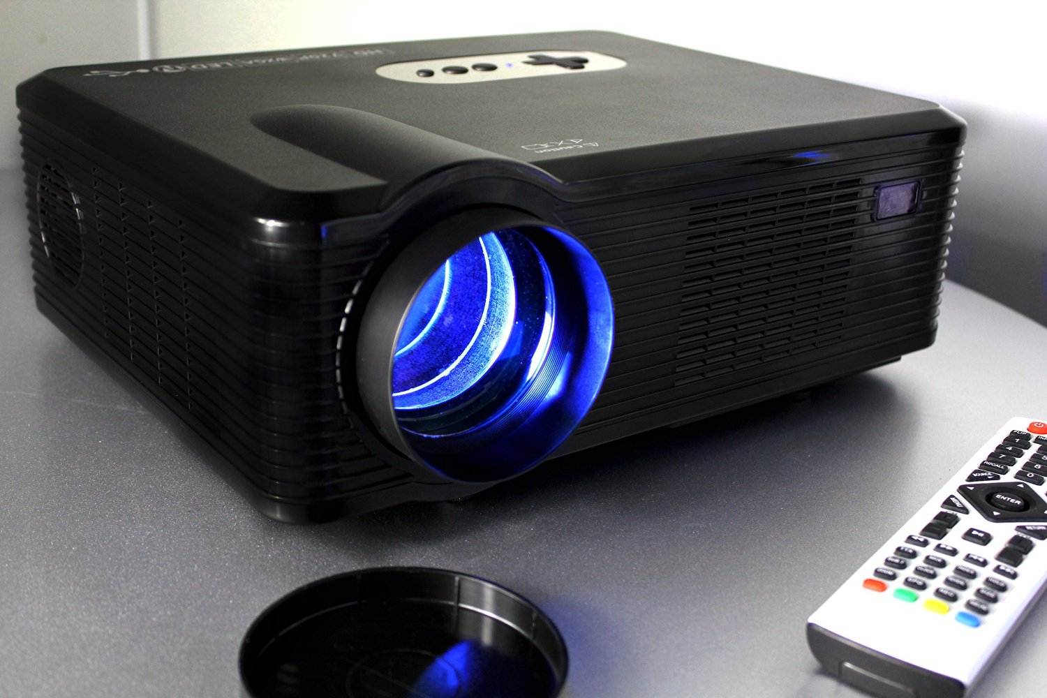 720P LED LCD Video Projector, Fugetek FG-857, Powerful Home Theater Cinema projector, Extended Life LED Lighting Technology, Features Multi Inputs - 2-HDMI, 2-USB, VGA, YPBPR, 1280x800 Native Resolution, Multi Device Compatible: DVD, TV, PC, Game Consoles, 4:3/16:9 Aspect Ratio,Black, Sleek Design,