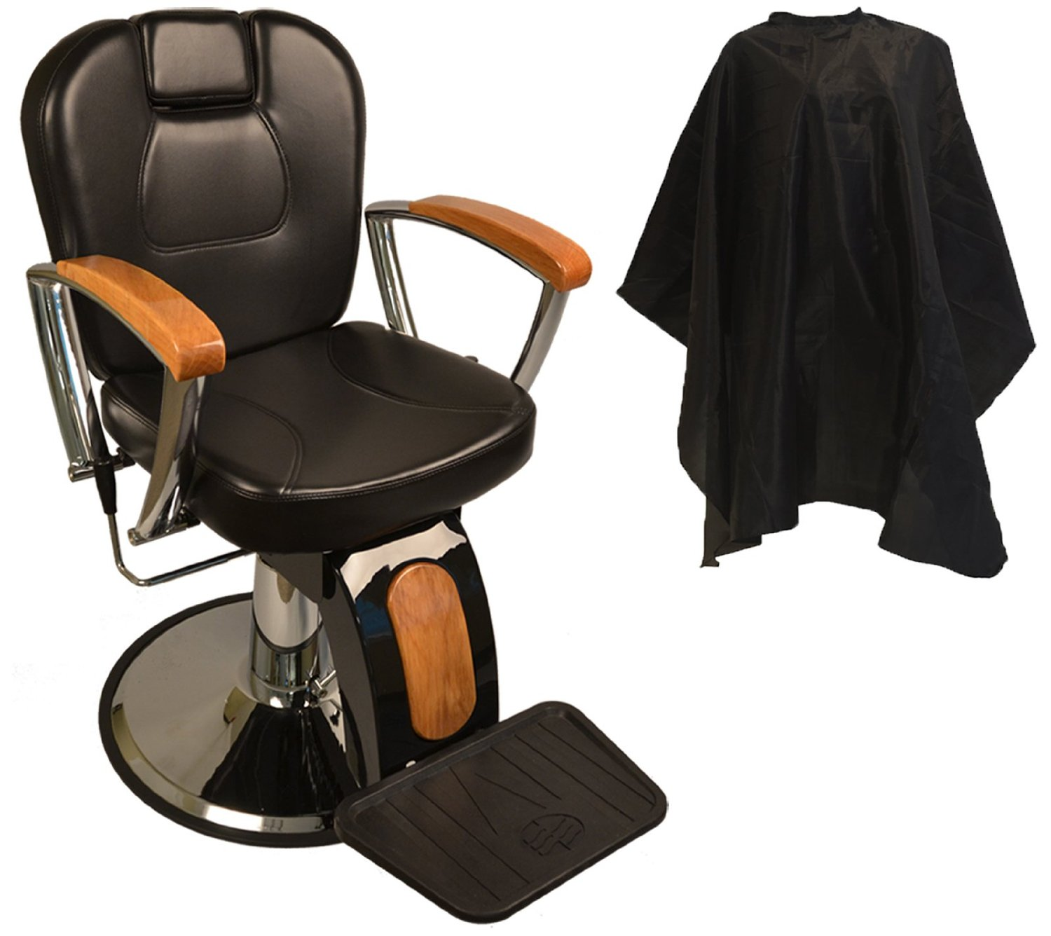 Amazon.com : LCL Beauty Reclining Hydraulic Barber Chair With Natural Oak Wood Armrests & Wood Grain Accent